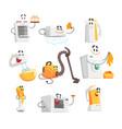 smiling household appliances set for label design vector image