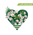 tropical palm leaves and orchid flowers heart vector image