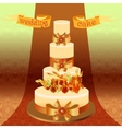 Wedding cake with red iris flower design vector image