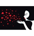 Cute girl blows with hands hearts Air kiss vector image