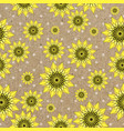 seamleess background with yellow sunflowers vector image
