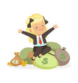 happy blonde girl businesswoman sitting on bags of vector image vector image