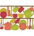 Kitchen utensils on shelves - seamless pattern vector image