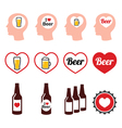 Man loving beer icons set vector image vector image