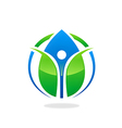 green ecology blue water drop health people logo vector image