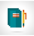 School notebooks and pen flat icon vector image