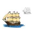 Antique three masted barque sailing ship vector image