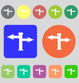 Blank Road Sign icon sign 12 colored buttons Flat vector image