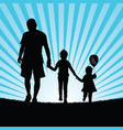 family happy walking in nature silhouette color vector image