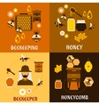 Honey concept with bees beehives and honeycombs vector image