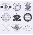 set of old bikes shop logo set vector image