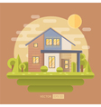 Flat with house and garden vector image