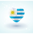 Flag of Uruguay in shape diamond glass heart vector image