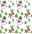 seamless background with snowman and reindeer vector image