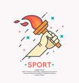 hand with a burning torch for sports vector image