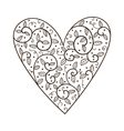 Heart with leaves and flowers vector image