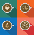 Coffee Latte art pattern on colorful background vector image
