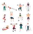 gym people set young man and women engaged in vector image