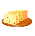 cheese cut in the board vector image
