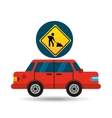 under construction road sign sedan red vector image
