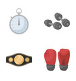 boxing sport stopwatch watch boxing set vector image