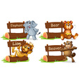 Four wild animals with wooden sign vector image
