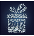 Gift present with 2017 made up a lot of diamonds vector image