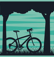 bike in the park tree grass natural landscape vector image