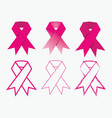 breast cancer awareness pink ribbon icons set vector image
