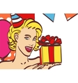Pop Art girl with thought bubble Party invitation vector image