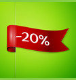 red ribbon with text twenty percent for discount vector image