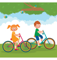 Children ride on the bike vector image