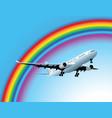 plane and rainbow vector image