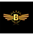 Letter B winged crests logo Alphabet logotype vector image