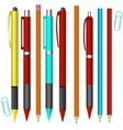 Big set of colored engineering and office pens and vector image