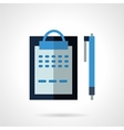 Blue clipboard flat color icon vector image
