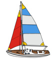 Color sailing yacht vector image
