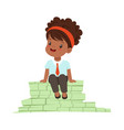 cute girl businesswoman sitting on a pile of money vector image