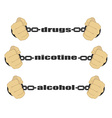 Drugs nicotine alcohol signs vector image