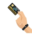 Hand holding credit or debit card icon vector image