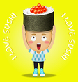happy man carrying big sushi roll vector image