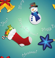 New year pattern with snowman sock for gifts bell vector image