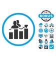 Audience Graph Flat Icon with Bonus vector image