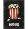 Carton bucket full popcorn with title vector image