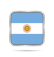 flag of Argentina shiny metallic square button vector image