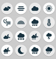 climate icons set collection of lightning vector image