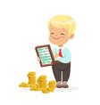 happy lirrle boy businessman counting his money vector image vector image