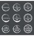 Set of vintage retro coffee labels on chalkboard vector image
