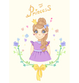 Princess girl in floral frame with crown vector image