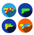 set of water gun icons in flat style vector image